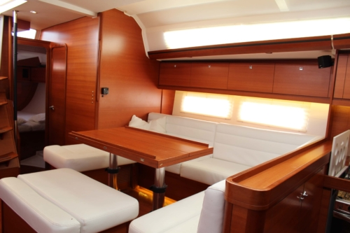 Saloon interior of Dufour 512 Grand Large Sail boat Whites Yachts Brokers Mallorca Spain