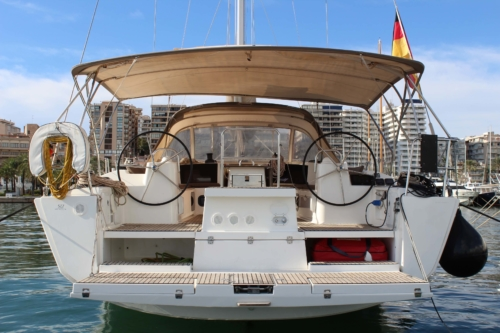 Rear view of Dufour 512 Grand Large Sailing boat for sale with Whites Yachts Mallorca